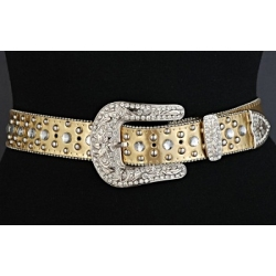 Diamond Back Ladies Western Rhinestone Belt in PVC Leather