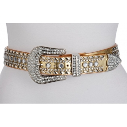 Ladies Rhinestone Western Style Belt PVC Leather