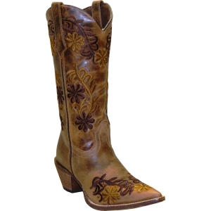 Rawhide by Abilene Ladies Brown Two Toned Floral Boot 5024