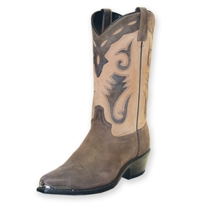 Sage-Cowhide Mens Western Boots-with Lizard Tips and Collars