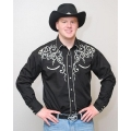 RETRO WESTERN SHIRT - LEAF EMBROIDERY IN 4 COLORS