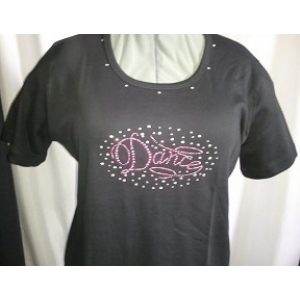 Crystal Rhinestones & Studs Oval  Pink Dance Shirt