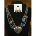 Silver Burnish Multi Bead Heart Necklace Set