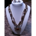 Brown/Silver Cross Necklace Set