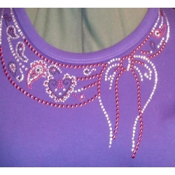 Rhinestone Scarf Design Scoop Neck Ladies Shirt