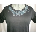 Turquoise Leaf Design Rhinestone Scoop Neck T- Shirt