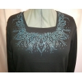 Teal Square Neck Design Ladies Rhinestone Shirt