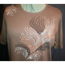 Rhinestone Brown Leaf Design Scoop Neck Woman's Shirt