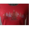 Crystal and Green Rhinestone Christmas Trees Shirt