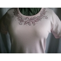 Pink Leaf Design Rhinestone Scoop Neck T- Shirt