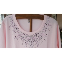 Purple Rhinestone Neckline Design Ladies Shirt
