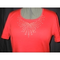 Crystal Rhinestone Scoop Neckline Ladies Shirt